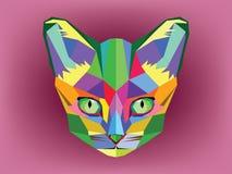 Testa del gatto con stile geometrico Immagini Stock Libere da Diritti