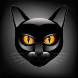 Testa del gatto nero Immagini Stock Libere da Diritti
