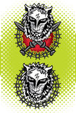 Testa del leone con l'illustrazione dell'emblema delle spade Immagine Stock