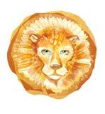 Testa del leone con la criniera isolata su fondo bianco Emblema del ritratto dell'animale selvatico Logo disegnato a mano del fro Immagine Stock