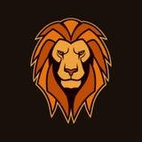 Testa del leone con la criniera Mascotte di vettore del leone immagini stock