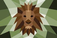Testa del leone con poli progettazione diagonale Fotografia Stock Libera da Diritti