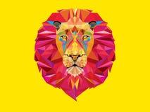 Testa del leone nel modello geometrico Immagini Stock Libere da Diritti