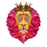 Testa del leone nel modello geometrico Fotografia Stock Libera da Diritti