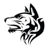 Testa del lupo - tatuaggio tribale Fotografia Stock