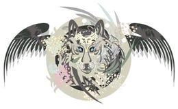 Testa del lupo in un cerchio con le ali Fotografia Stock Libera da Diritti