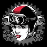 Testa del motociclista di signora illustrazione di stock
