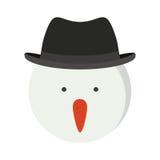 Testa del pupazzo di neve della siluetta con black hat Illustrazione di Stock