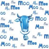 Testa del ` s della mucca circondata dalle lettere blu su un fondo bianco Fotografia Stock Libera da Diritti