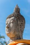 Testa del ` s di Buddha con cielo blu Ayutthaya thailand Fotografie Stock Libere da Diritti