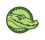 Testa dell'alligatore nel cerchio Icona del carattere del coccodrillo illustrazione vettoriale
