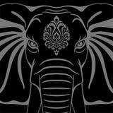 Testa dell'elefante con l'ornamento illustrazione di stock