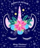 Testa dell'unicorno disegnato a mano Immagine Stock