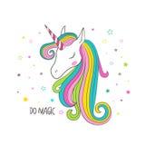 Testa dell'unicorno Illustrazione di vettore per abbigliamento Immagini Stock