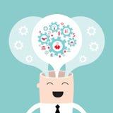 Testa dell'uomo d'affari con i pensieri e le idee degli ingranaggi Fotografia Stock