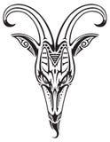 Testa della capra del tatuaggio isolata Fotografia Stock