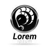 Testa della capra nel logo metallico Immagine Stock