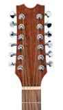 Testa della chitarra acustica delle dodici stringhe Fotografia Stock Libera da Diritti