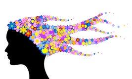 Testa della donna con i fiori illustrazione vettoriale