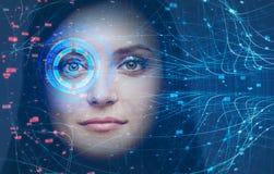 Testa della donna, tecnologia di riconoscimento di fronte e HUD fotografia stock libera da diritti