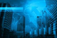 Testa della freccia con il grafico finanziario e mappa sul fondo della città, Ele Immagini Stock Libere da Diritti