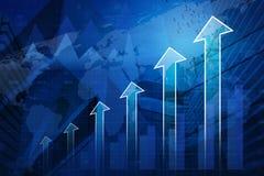 Testa della freccia con il grafico finanziario e mappa sul fondo della città, Succ Fotografia Stock Libera da Diritti
