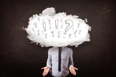 Testa della nuvola dell'uomo di affari con la domanda Fotografia Stock Libera da Diritti