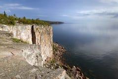 Testa della palizzata sulla riva del nord del lago Superiore, Minnesota Fotografia Stock