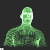 Testa della persona da una griglia 3d Modello del collegare della testa umana Fotografie Stock Libere da Diritti