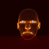 Testa della persona da una griglia 3d Modello della testa umana Esame del fronte Vista della testa umana progettazione geometrica Fotografia Stock