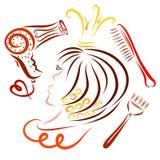 Testa della principessa, pettine, spazzola per capelli ed il fon illustrazione vettoriale