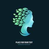 Testa della ragazza Logo, icona, emblema, modello Immagine Stock Libera da Diritti
