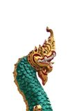 Testa della statua dorata del Naga Fotografia Stock Libera da Diritti