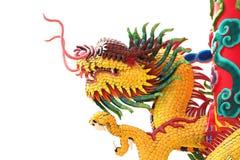 Testa della statua gialla del drago Fotografia Stock Libera da Diritti