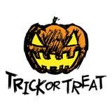 Testa della zucca della presa-o-lanterna di Halloween e testo di scherzetto o dolcetto Fotografie Stock Libere da Diritti