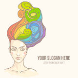 Testa delle donne con i capelli dell'arcobaleno Immagini Stock Libere da Diritti