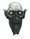 Testa dello zombie Disegnato a mano Vettore EPS8 Immagine Stock