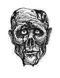 Testa dello zombie Disegnato a mano Vettore EPS8 Fotografia Stock Libera da Diritti