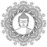 Testa di Buddha su Mandala Background illustrazione di stock