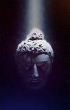 Testa di Buddha in un fascio luminoso Immagini Stock Libere da Diritti