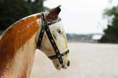 Testa di cavallo antica di legno, Avignone fotografia stock libera da diritti