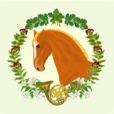 Testa di cavallo dell'acetosa del vettore di tema di caccia dello stallone Fotografia Stock