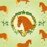 Testa di cavallo dell'acetosa del vettore di tema di caccia dello stallone Immagini Stock Libere da Diritti