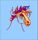 Testa di cavallo stilizzata su un fondo bianco Fotografia Stock