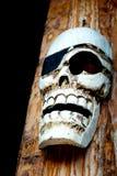 Testa di legno scolpita del cranio Immagine Stock Libera da Diritti