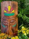 Testa di legno di tiki con le caratteristiche scolpite e gli accenti dipinti circondata dai fiori e dalla pianta tropicale - fuoc immagine stock