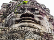Testa di pietra al tempio di Bayon Fotografie Stock Libere da Diritti