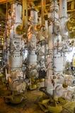 Testa di pozzo di produzione, testa di pozzo in piattaforma del gas e del petrolio marino, alberi di X'MAS in petrolio marino e p fotografie stock
