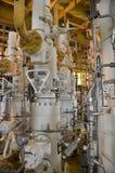 Testa di pozzo di produzione, testa di pozzo in piattaforma del gas e del petrolio marino, alberi di X'MAS in petrolio marino e p immagine stock libera da diritti
