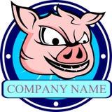 Testa di riserva del fumetto del maiale di logo Fotografia Stock Libera da Diritti